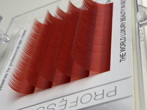 Eyelash Extensions, Red Color, C curl 0.07mm/9-13mm, Mix Tray, Individual Volume Eyelash Extensions