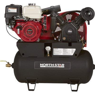 NorthStar Portable Gas Powered Air Compressor – Honda GX390 OHV Engine, 30-Gallon Horizontal Tank, 24.4 CFM at 90 PSI