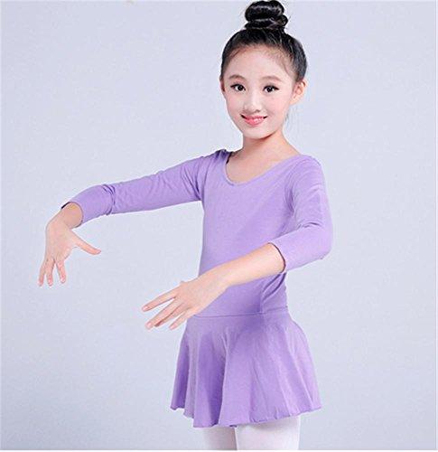 b manches courtes de longues manches violet d'entraînement Leotard confortable ballet enfants pour THpxPfn
