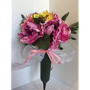 GRAVE DECOR - CEMETERY MARKER - FUNERAL ARRANGEMENT - MEMORIAL ARRANGEMENT - PINK & PURPLE PEONIES, PINK & WHITE HYDRANGEAS, AND YELLOW & GREEN HYDRANGEAS 42
