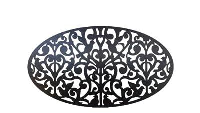 Acurio 2746-O-PVC-BK-GNDV Oval Ginger Dove Decorative Privacy Panel, Black
