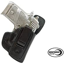 Ruger LCP RED Crimson Trace Laser IWB Leather Single Spring Clip Holster with Body Shield R/H Black - 0595
