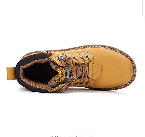 Cuero Impermeables Deslizamiento Casual Piel 2018 Invierno 2 No De Amarillo Cálido Zapatos Botas Forrado Martin Seguridad Hombre wWq8U6f