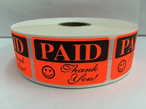 1000 Labels 1.25x2 Bright Red PAID THANK YOU Pricing Price Point Retail Stickers 1 Roll