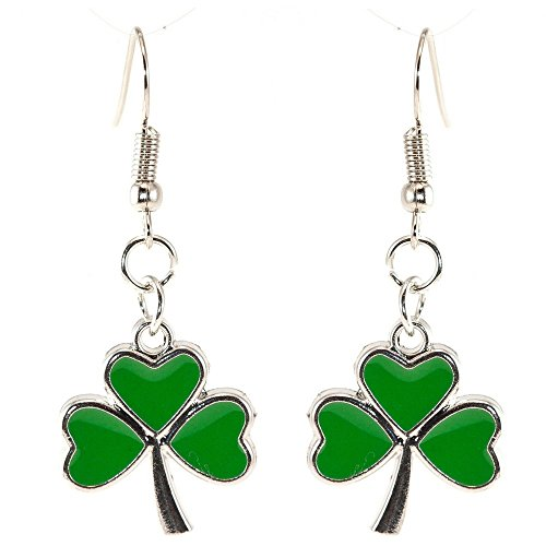 Shamrock Green Dangle Earrings: Green Clover Dangling Earrings for Women - St Patrick's Day Accessories
