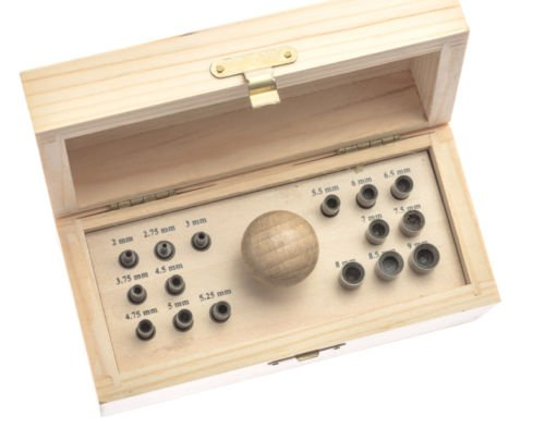 16 PUNCH BEZEL SETTING TOOL SET IN WOOD BOX WITH HANDLE & PUNCHES SIZES 2mm-9mm (13 - Box Bezel