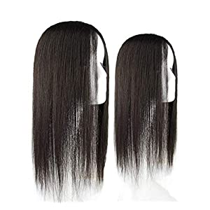 Extension Human Hair,Top Hairpieces for Women with White and Thinning Hair Women's 3″ X 5″ Silk Base Human Hair Crown