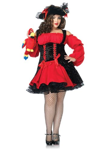 [Leg Avenue Women's Plus Size Vixen Pirate Wench Costume, Red/Black, 3X-4X] (Plus Size Costumes)