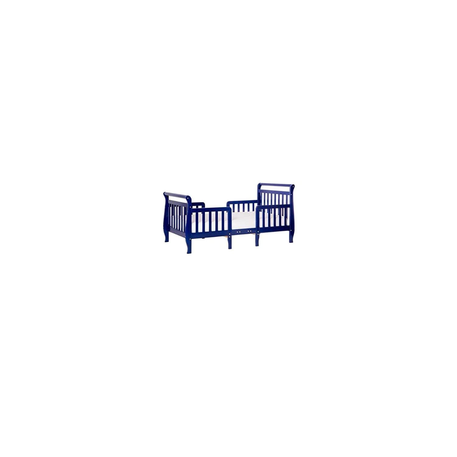 Dream On Me, Emma 3 in 1 Convertible Toddler Bed, Dark Blue with Spring Crib and Toddler Bed Mattress, Twilight