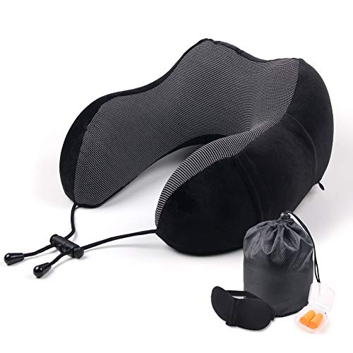 KOOT Travel Neck Pillow 100% Pure Memory Foam -360°Head and Neck Support Airplane Travel Kit with Breathable Soft Velour Cover,Sleep Mask and Earplugs(Black)