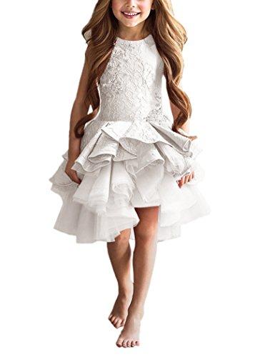 - PLwedding Lovely Vintage Lace Applique Short Dream Flower Girls Dresses (Size 10, Ivory)