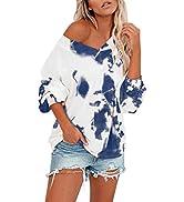 Kisscynest Women's Off The Shoulder Tie Dye Sweatshirt Fashion Casual Lantern Sleeve Pullover Tops
