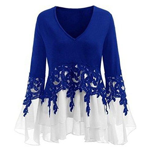 en Vintage Blouse Longues Femmes Dbardeur Manches Basique Chemisier De Femme Soie Mousseline Bleu Irrgulier twRTfaxq
