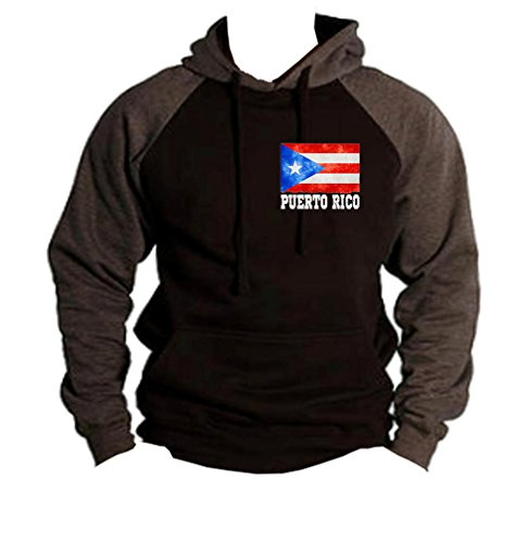 Interstate Apparel Men's Puerto Rico Flag Chest Black/Charcoal Raglan Baseball Hoodie Sweater 2X-Large Black by Interstate Apparel