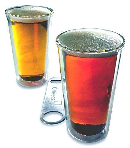 Craft Beer Glass Set 2 Double Wall Insulated Real Glass Tumblers 14 Ounces Pint Shape 2-Pack Set with 7 Inch Stainless Steel Speed Bottle Opener by Princeton Wares