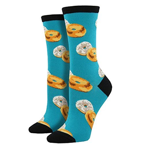 Socksmith Womens Novelty Crew Socks  Bagel Schmear    1 Pair  Turquoise