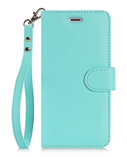 iPhone 8 Plus Case, iPhone 7 Plus Case, FYY [RFID Blocking wallet] 100% Handmade Wallet Case Stand Cover Credit Card Protector for iPhone 7 Plus/ 8 plus Mint Green
