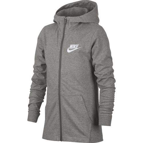 NIKE Boys' Sportswear Full-Zip Hoodie (Gray,Large)