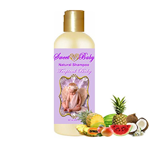 Sweet Baby Shampoo 16oz., Sulfate Free, No Parabens, Phthalates, Dyes, Endocrine Disruptors, SLS Free, Vegan, Natural (Tropical Baby 16 oz)