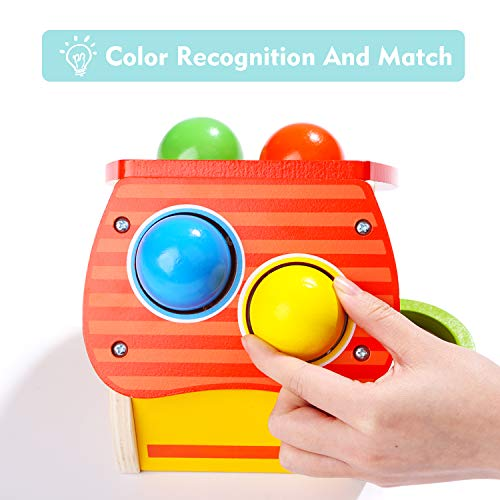 TOP BRIGHT Hammer Toy for 1 2 Year Old Boy and Girl Gifts Learning Wooden Montessori Toys for Toddlers Pounding and Color Matching Game with Ball Mallet by TOP BRIGHT (Image #2)