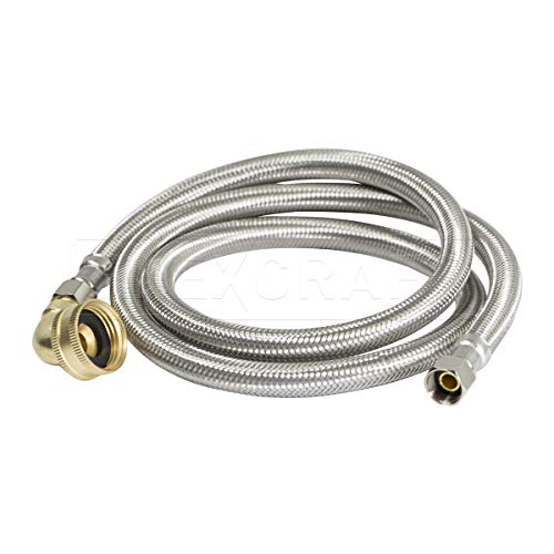 FlexCraft 28772-NL, Dishwasher Connector, Connects Dishwasher to Water Supply, Dishwsher Supply Line With Swivel Elbow, Braided Stainless Steel 72 In (Brass Supply Elbow)