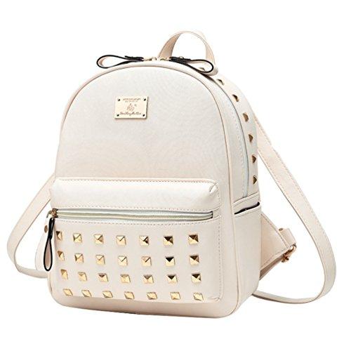 Ampliación Mochila YAANCUN Remache Elegante Del Simple Bolsa Blanco Bolso De Hombro Diseño Mujeres A45wqZ