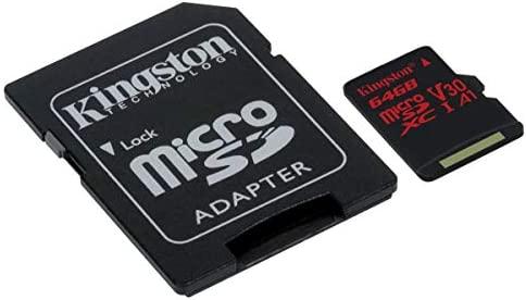 Kingston Canvas React - Tarjeta microSD, SDCR de 64 GB, Clase 10 con Adaptador SD, Adecuado para Tomar Fotos en Modo ráfaga y filmar vídeos en 4K