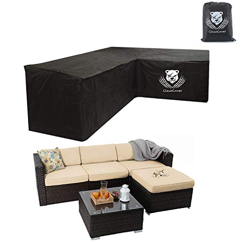 Heavy Duty Outdoor Sectional Sofa Cover, 100 Waterproof 600D Patio Sectional Couch Cover, V-Shaped Lawn Patio Furniture Cover