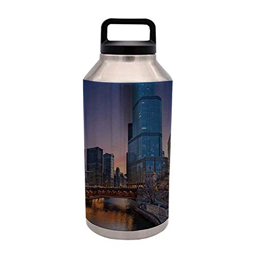 TecBillion Landscape Durable 64OZ Stainless Steel Bottle,USA Chicago Cityscape with Rivers Bridge and Skyscrapers Cosmopolitan City Image for Home Travel Office,4