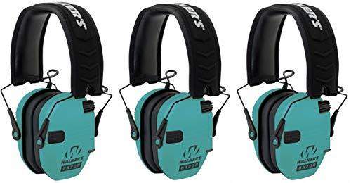 Walkers GWPRSEMLTL Razor Slim Electronic Earmuff 23 dB Light Teal - 3 Pack by Walker's Game Ear