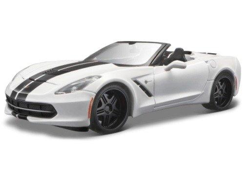 (Maisto 32501W 2014 Chevrolet Corvette Stingray Convertible White/Black Modern Muscle 1/24 Diecast Model Car)