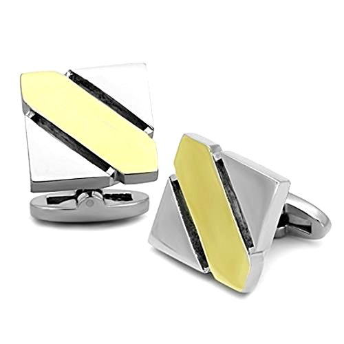 Gold Stripe and Silver Two Tone Square Stainless Steel Cufflink