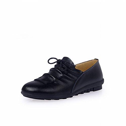 Las Señoras Calzan Los Zapatos Planos Cómodos Ocasionales Los Guisantes Zapatos de la Madre , negro , EUR37