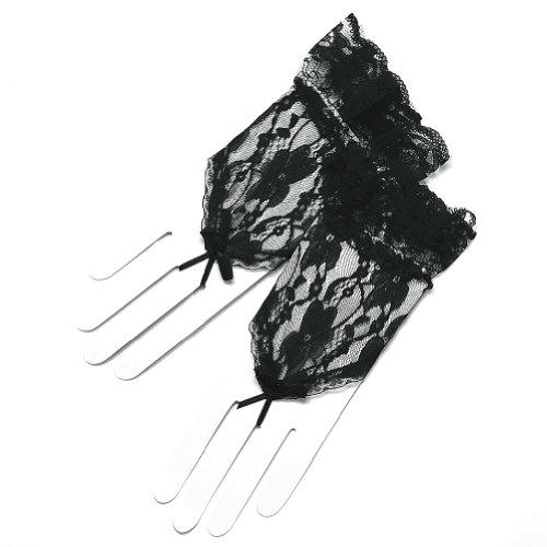 ZaZa Bridal Flower Pattern Fingerless Lace Gloves w/ Ruffle Wrist Length 2BL-Black