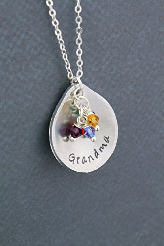 Grandma Birthstone Necklace - DII ABC - Personalized Teardrop Name - Mom Gift - Grandkids Grandchildren Mother's Day - Aluminum Disc Silver Chain