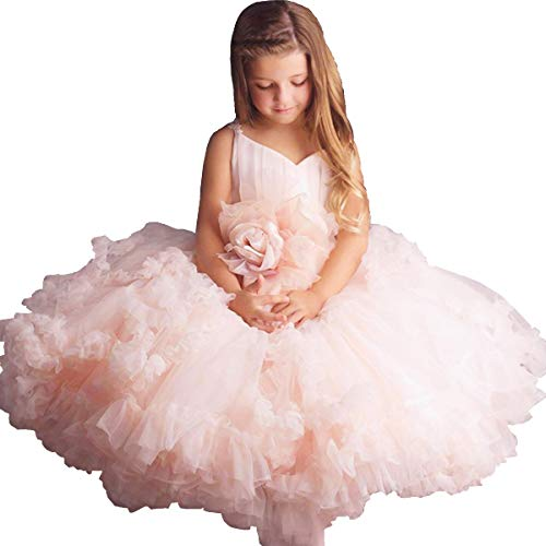 - Pink Flower Girl Dresses V-Neck Long Tulle Puffy Ball Gown Party Sleeveless Bridesmaid Lace Appliques Prom Pageant