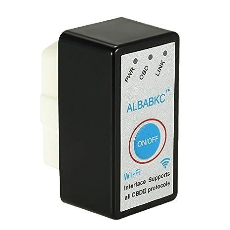 colore: nero compatibile con smartphone Android e IOS Lettore di codici errori OBD OBDII KKmoon strumento diagnostico per auto con Wi-Fi ALBABKC