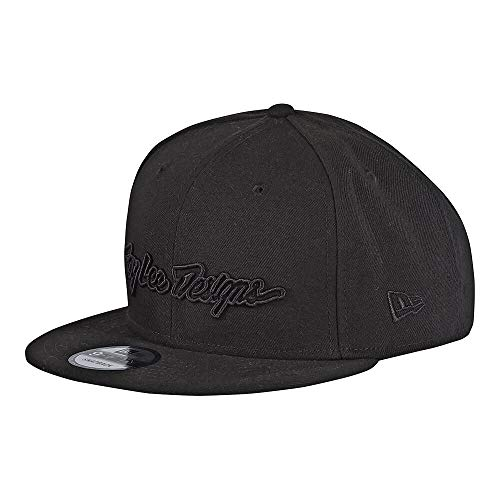 Troy Lee Designs New Era 9Fifty Flat Bill Snapback Signature Hat (One Size Fits All, Black)