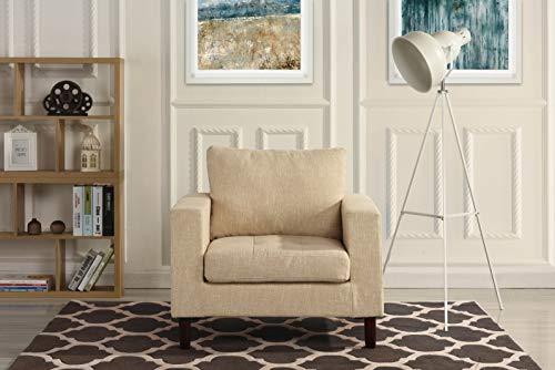 Modern Tufted Linen Fabric Armchair, Living Room Chair (Beige)