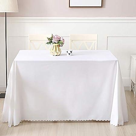 Mantel rectangular de poliéster lavable de 150 x 200 cm, ideal para mesa de bufé, fiestas, vacaciones, cenas, bodas, mantel rectangular (blanco)