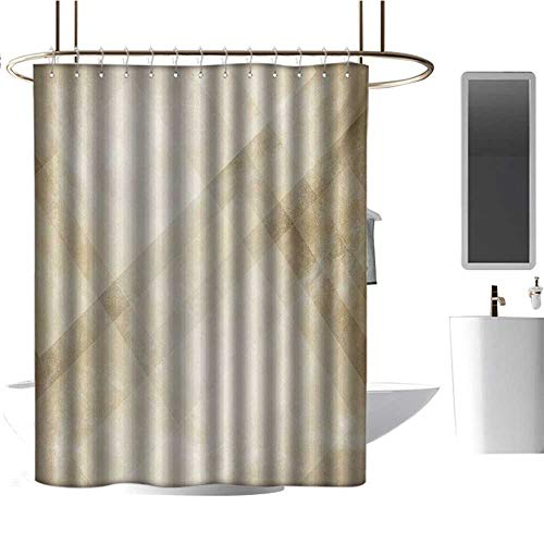 TimBeve Vintage Shower Curtain Tan,Striped Vintage Faded Squares and Angled Lines Dated Antique Display with Modern Pattern,Beige Tan,for Bathroom Showers, Stalls and Bathtubs 36
