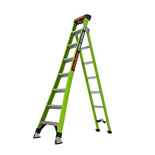 Little-Giant-Ladders-King-Kombo-Technical-8-Ft-A-Frame-14-Ft-Extension-Ground-Cue-V-bar-Sure-Set-Feet-Fiberglass-Type-1AA-375-lbs-weight-rating-13814-074