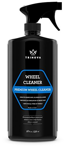 Black Car White Rims (TriNova Wheel Cleaner Rim Cleaning Spray - Remove Tire Dirt, Oil Residue, Dust & More - Restores Shine & Clears Stains - Polished, Painted Alloy, Chrome Wheels. 18 OZ)