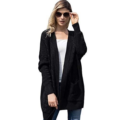 Cappuccio Maniche Cardigan Cappotto Lunghe Black Da Donne Kimono Frontale Delle Con A Delmaglione Lungo Apertura E Chengzuoqing Pnc7p00