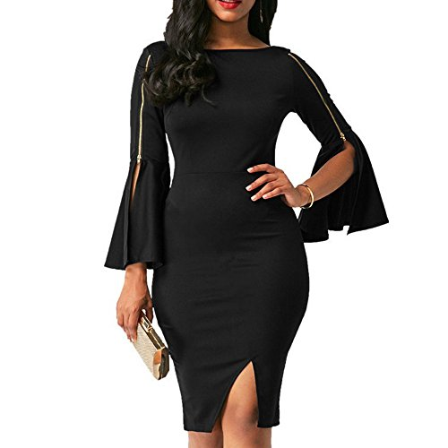 Women Dress Daoroka Ladies Zipper Wear Work Office Pencil Flare Sleeve Elegant Casual Skirt Bodycon Sheath Party Dress (S, Black)