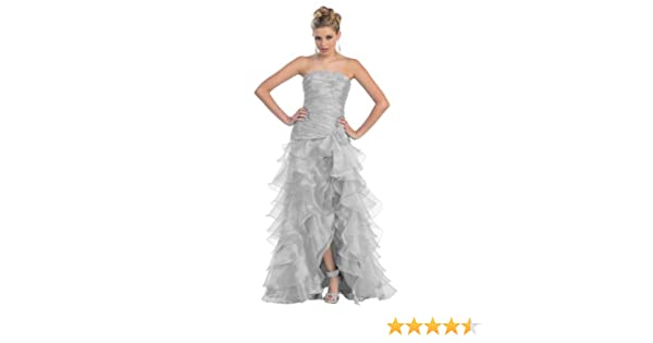 Amazon.com: Ball Gown Formal Prom Strapless Layered Ruffle Dress #770 (8, Silver): Clothing