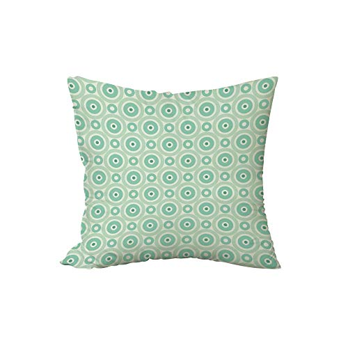 iPrint Polyester Throw Pillow Cushion,Mint,Big and Little Circles in Symmetrical Composition with Vintage Pastel Colors,Mint and Pale Green,17.7x17.7Inches,for Sofa Bedroom Car Decorate