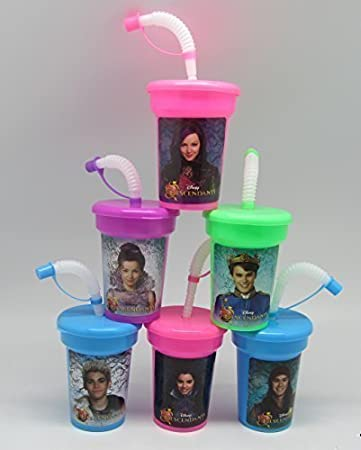 6 Disney Descendants Stickers Birthday Sipper Cups with lids Party Favor Cups by Neon