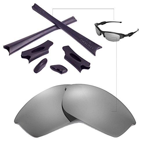 Walleva Replacement Lenses Or Lenses/Rubber Kit for Oakley Flak Jacket Sunglasses - 26 Options Available (Titanium Polarized Lenses + Black - Ti Jacket