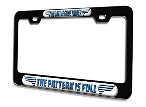NEGATIVE GHOSTRIDER THE PATTERN IS FULL Aviation Pilot Black Steel License Plate Frame 3D Style